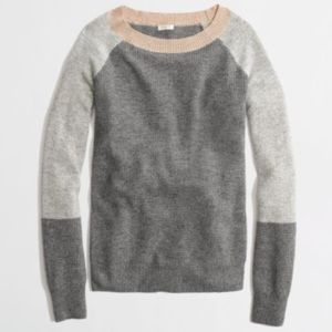 •J. Crew• Warmspun Waffle Colorblock Sweater